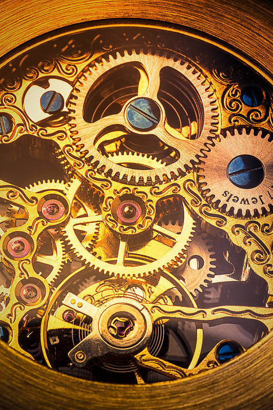 Time Print featuring the photograph Gold Pocket Watch Gears by Garry Gay