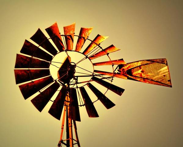 Windmill Print featuring the photograph Golden Light Windmill by Marty Koch