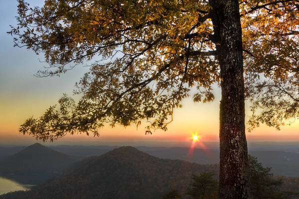Appalachia Print featuring the photograph Golden Lights by Debra and Dave Vanderlaan