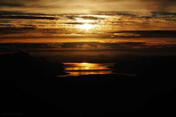 Norway Print featuring the photograph Golden Norse Fjordland Sunset by David Broome