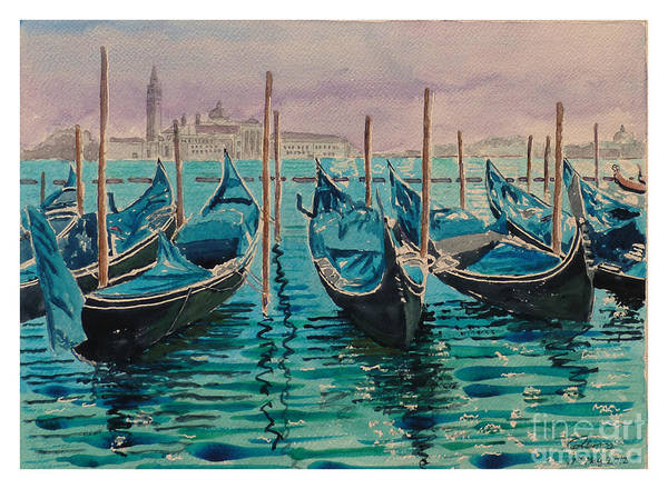 Gondolas At The Pier Venice Print by Godwin Cassar