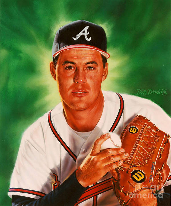 Sports Print featuring the painting Greg Maddux by Dick Bobnick
