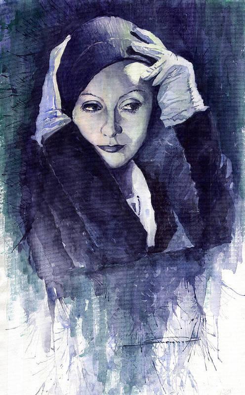 Watercolour Print featuring the painting Greta Garbo by Yuriy Shevchuk