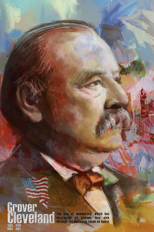 Grover Cleveland Print featuring the painting Grover Cleveland by Corporate Art Task Force