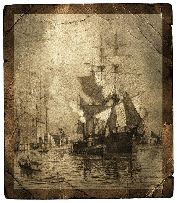 Schooner Print featuring the photograph Grungy Historic Seaport Schooner by John Stephens