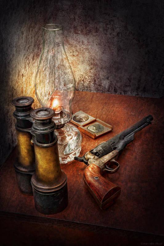 Gun Print featuring the photograph Gun - The Adventures Code by Mike Savad