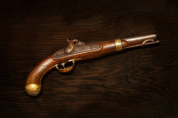 Gun Print featuring the photograph Gun - Us Pistol Model 1842 by Mike Savad