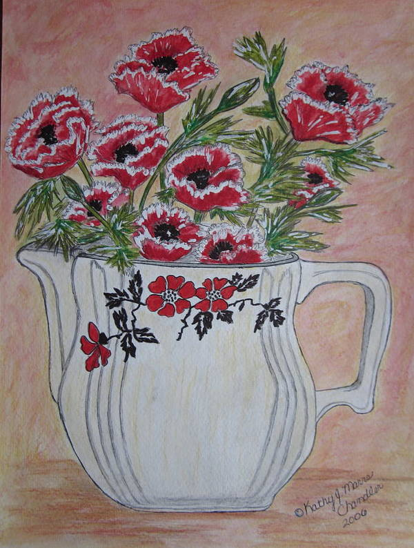 Hall China Print featuring the painting Hall China Red Poppy And Poppies by Kathy Marrs Chandler