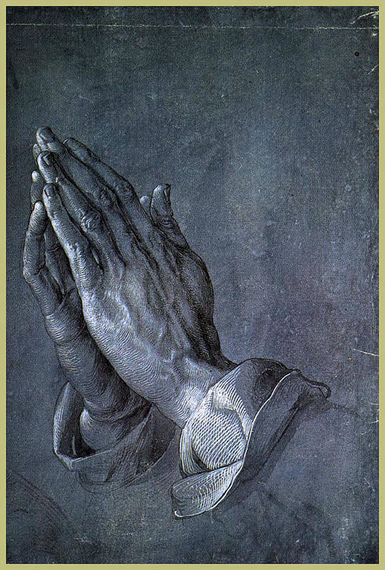 Albrecht Print featuring the painting Hands Of An Apostle 1508 by Philip Ralley