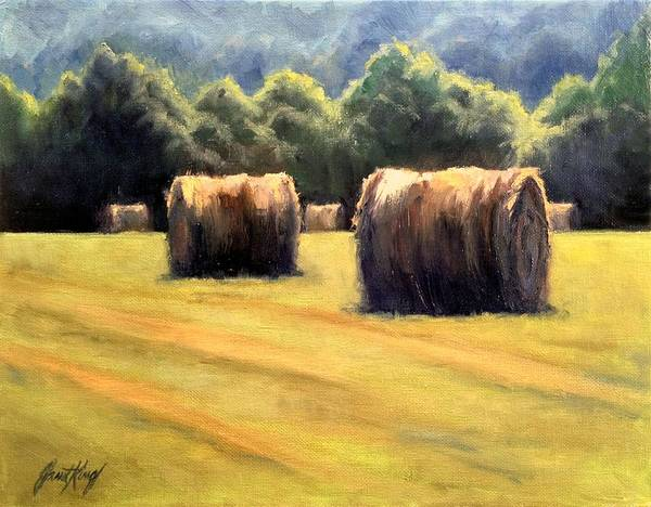 Hay Bales Print featuring the painting Hay Bales by Janet King