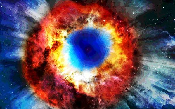 Helix Nebula Print featuring the digital art Helix Nebula by Dan Sproul