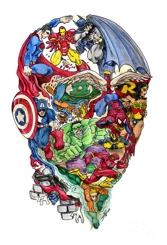 Surreal Print featuring the drawing Heroic Mind by John Ashton Golden