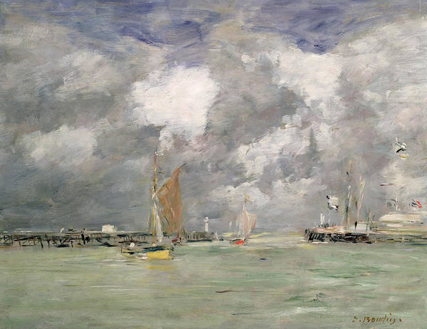 Boat Print featuring the painting High Tide At Trouville by Eugene Louis Boudin