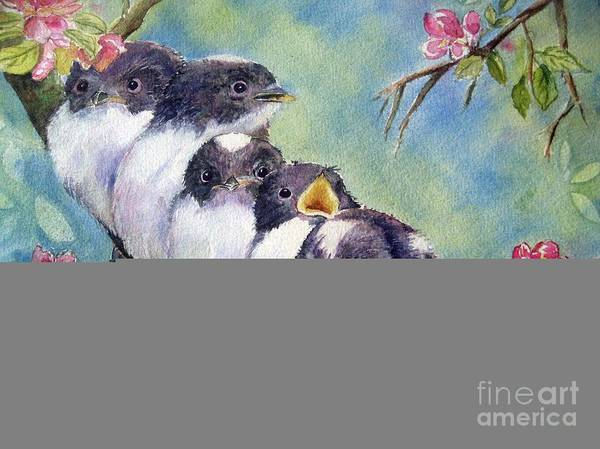 Baby Birds Print featuring the painting Home Alone by Patricia Pushaw