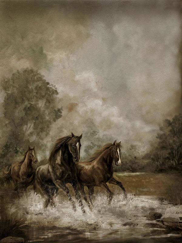 Horse Painting Equestrians Print featuring the painting Horse Painting Escaping The Storm by Gina Femrite
