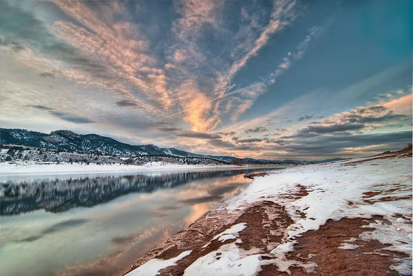Colorado Print featuring the photograph Horsetooth Sunset Hdr by Preston Broadfoot