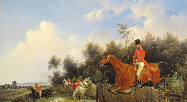 Scene De Chasse; Hunter; Hunters; Huntsman; Hunt; Riding; Horse; Rider; Outfit; Jumping; Fence; Landscape Print featuring the painting Hunting Scene by Bernard Edouard Swebach