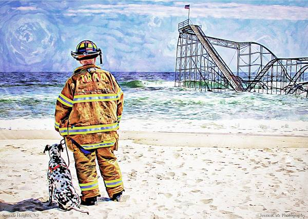 Seaside Heights Nj New Jersey Shore Hurricane Sandy Aftermath Beach Photo Photos Fireman Firefighter Firemen Dalmatian Dog Pet Fire Department Toms River Jetstar Roller Coaster Boardwalk Ocean Superstorm Print featuring the photograph Hurricane Sandy Fireman by Jessica Cirz