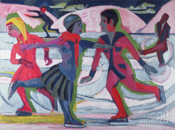 Winter Print featuring the painting Ice Skaters by Ernst Ludwig Kirchner