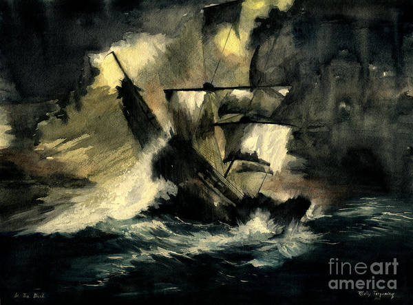 Pirates Ships Print featuring the painting In The Dark by Melly Terpening