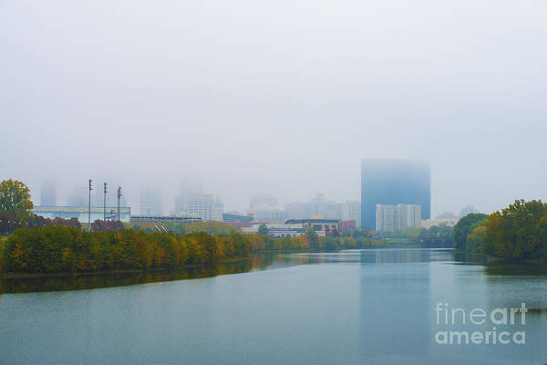 Indiana Print featuring the photograph Indianapolis Autumn Skyline Fog by David Haskett