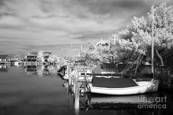 Infrared Boats At Lbi Print featuring the photograph Infrared Boats At Lbi Bw by John Rizzuto