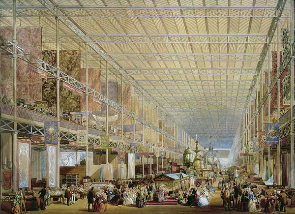 Architecture Print featuring the drawing Interior Of The Great Exhibition Of All by Edmund Walker