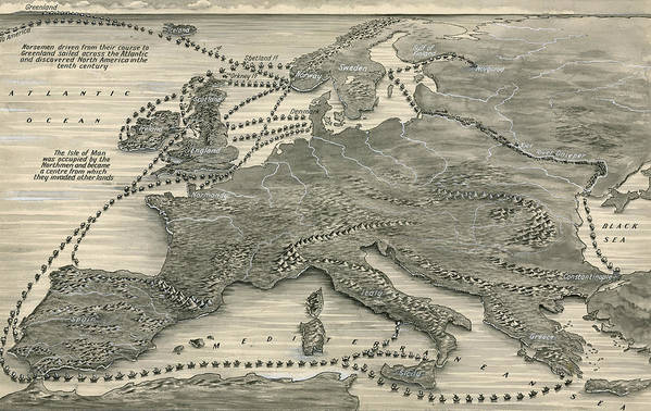 Maps Print featuring the drawing Invasions By The Norsemen by Leslie Ashwell Wood
