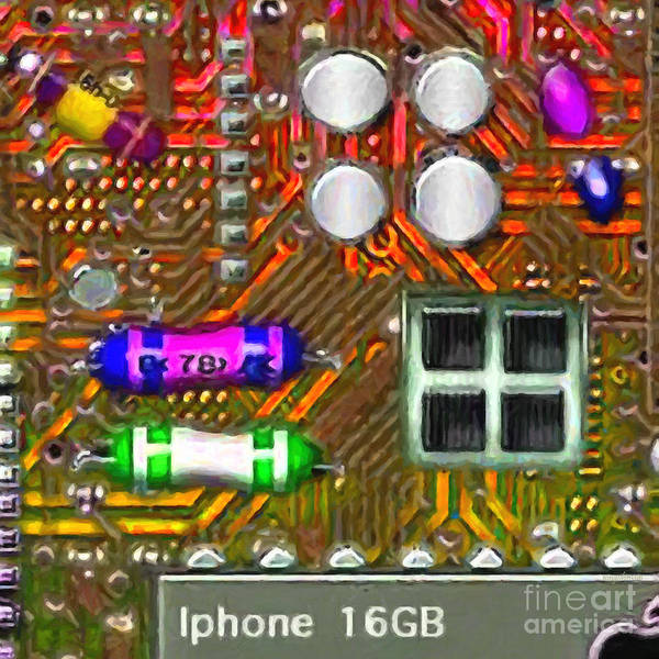 Circuit Board Print featuring the photograph Iphone I-art M118 Square by Wingsdomain Art and Photography