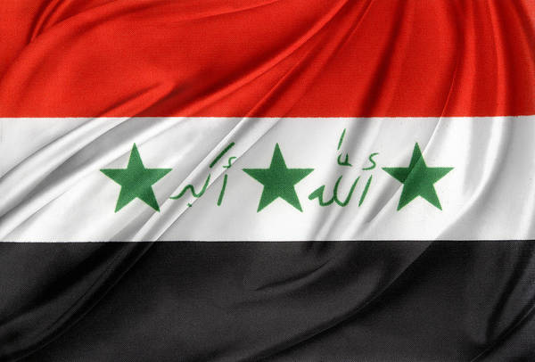 Banner Print featuring the photograph Iraq Flag by Les Cunliffe