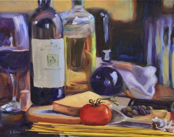 Italy Print featuring the painting Italian Kitchen by Donna Tuten