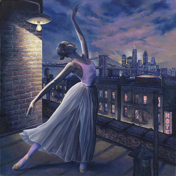 Ballerina Print featuring the painting It's Never Too Late by Dennis Goff