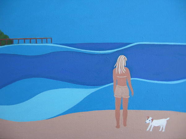 Jack Russell Print featuring the painting Jack At The Beach by Sandra McHugh
