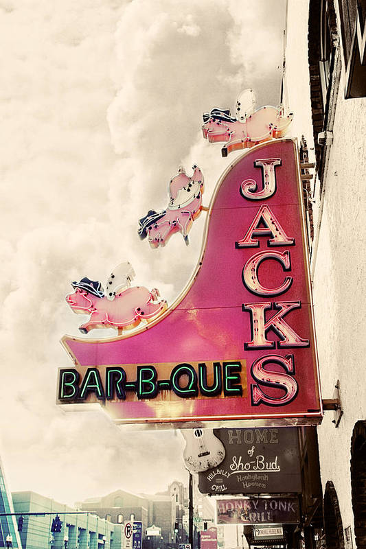Sign Print featuring the photograph Jacks Bbq by Amy Tyler
