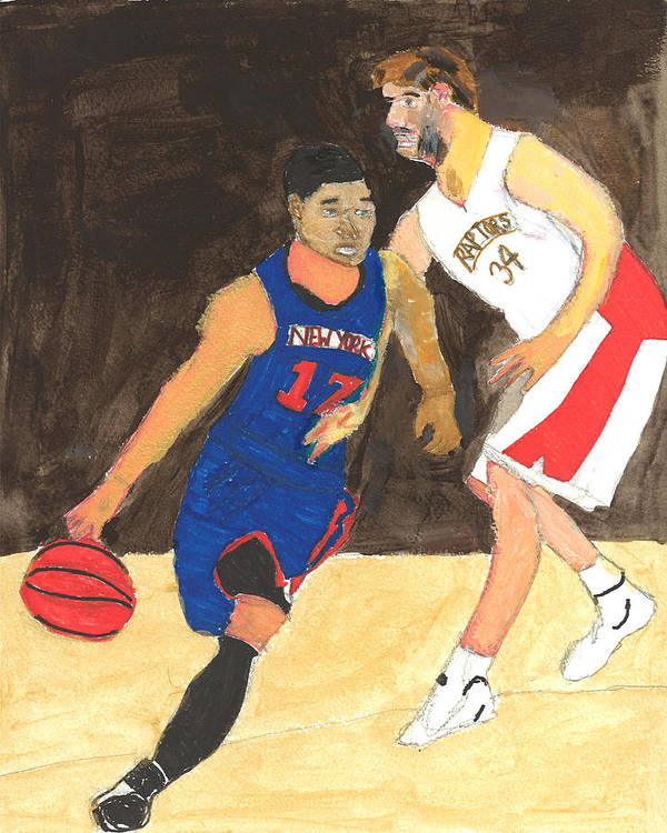 Ny Knicks Print featuring the painting Jeremy Lynn The Amazing by Nat Solomon