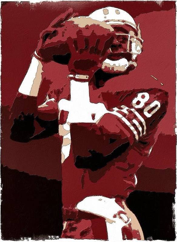 Jerry Rice Print featuring the painting Jerry Rice Poster Art by Florian Rodarte
