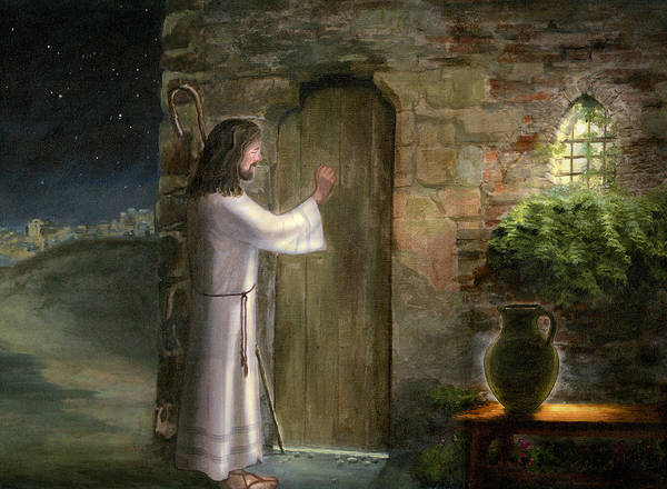 Jesus Knocking On The Door Oil Painting Canvas Original Priest Jerusalem Night Scene Bethlehem Light Jar Window Host Lord God Holy Spirit Christ Brown Green Blue Robe Staff Good Shepherd Holy Religious Spiritual Art Cecilia Brendel Bible Verse Matthew 7:7 Mat 7:7 Jesus Christ Son Of Man Shephard Staff Window Classical Print featuring the painting Jesus Knocking On The Door by Cecilia Brendel