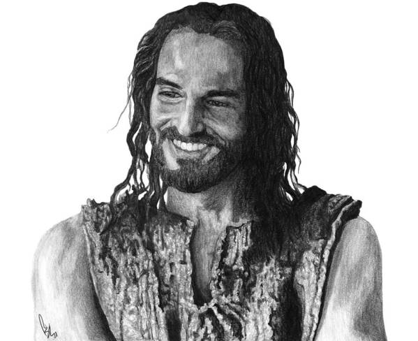 Drawing Print featuring the drawing Jesus Smiling by Bobby Shaw