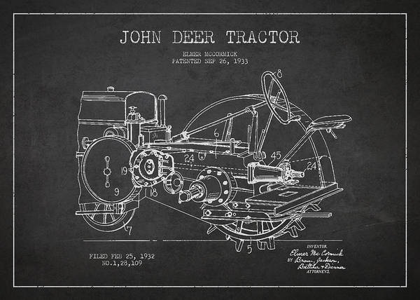 Tractor Print featuring the drawing John Deer Tractor Patent Drawing From 1933 by Aged Pixel
