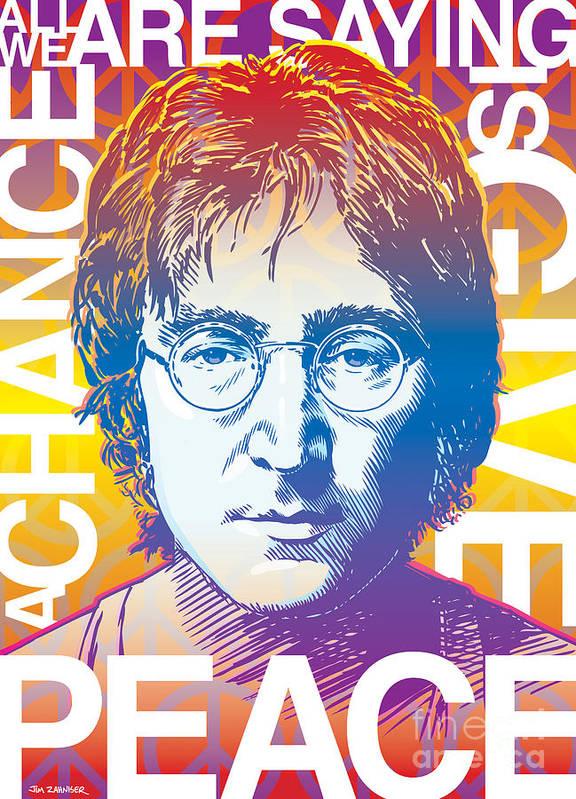 John Lennon Print featuring the drawing John Lennon Pop Art by Jim Zahniser