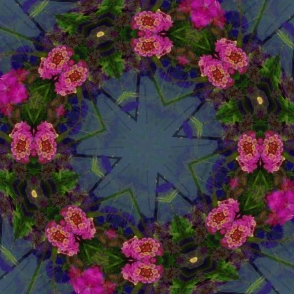 Kaleidoscope Print featuring the photograph Kaleidoscope Lantana Wreath by Cathy Lindsey