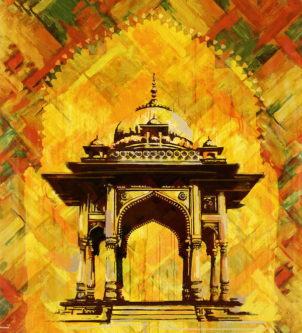 Pakistan Print featuring the painting Kamran's Baradari by Catf