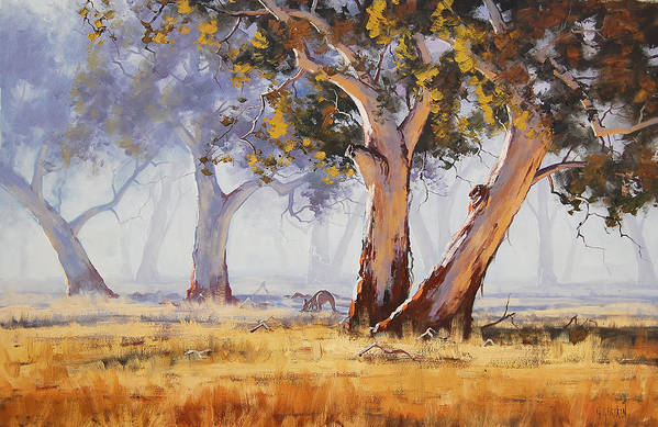 Eucalyptus Trees Print featuring the painting Kangaroo Grazing by Graham Gercken