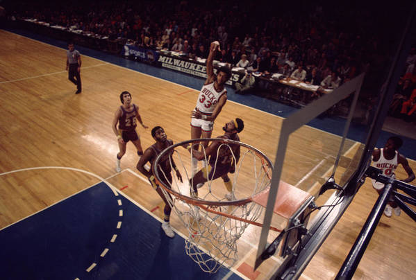 Marvin Newman Print featuring the photograph Kareem Abdul Jabbar Hook Shot by Retro Images Archive
