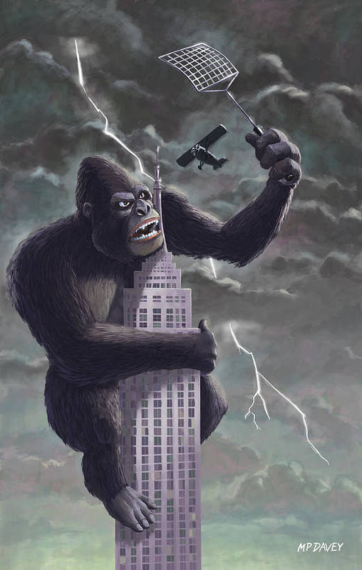Kong Print featuring the painting King Kong Plane Swatter by Martin Davey