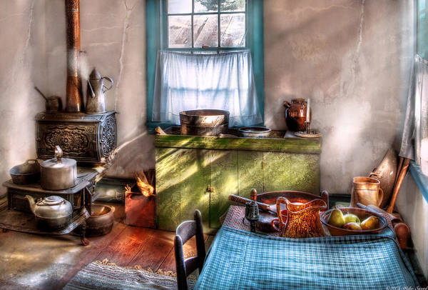 Savad Print featuring the photograph Kitchen - Old Fashioned Kitchen by Mike Savad
