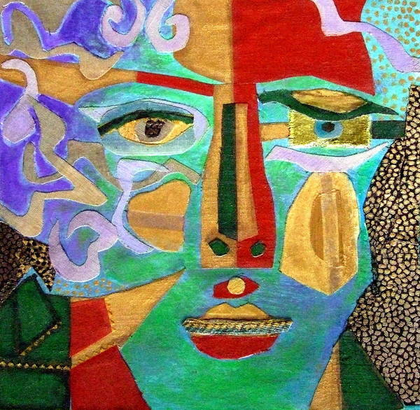 Mixed Media Portrait Print featuring the mixed media Klimt Face by Diane Fine