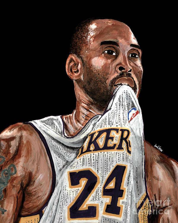 Koby Bryant Print featuring the painting Kobe Bryant Biting Jersey by Israel Torres