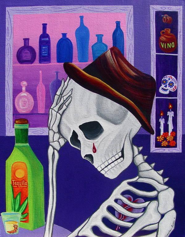 Dia De Los Muertos Print featuring the painting La Vida No Vale Nada Dos by Evangelina Portillo