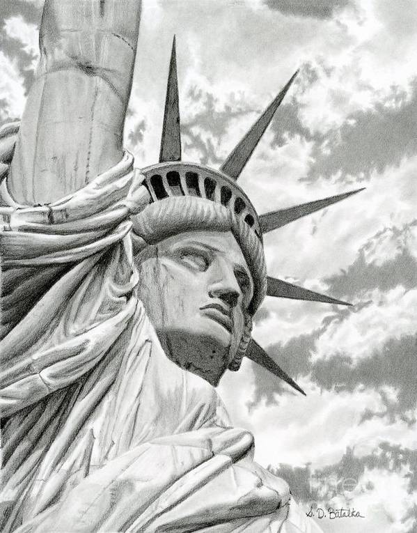 Statue Of Liberty Print featuring the drawing Lady Liberty by Sarah Batalka